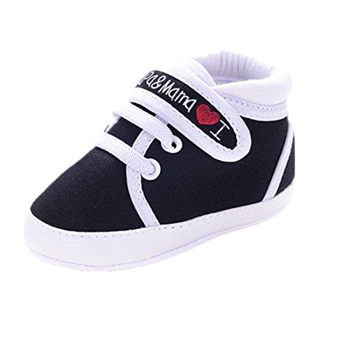 Ularmo Schuhe f�r 0-18 Monate Baby, Weiche Sohle Kleinkind-Schuhe Segeltuch-Turnschuh (11cm(0-6 Monate), Schwarz)