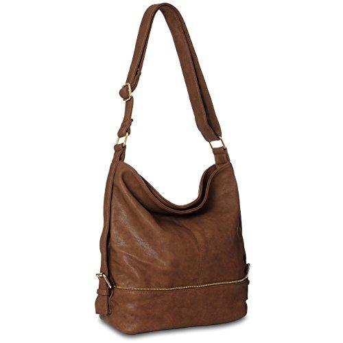 CASPAR TS732 gro�e Damen Umh�nge Tasche, Farbe:braun