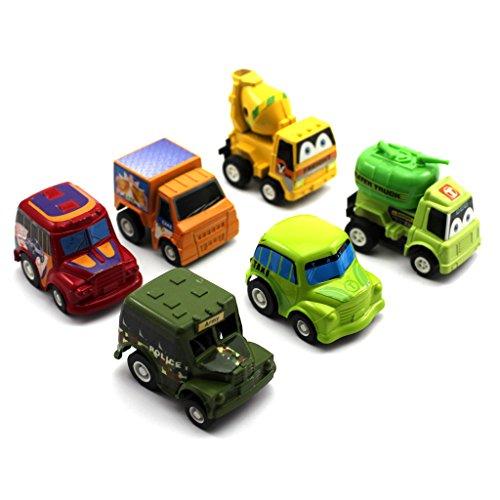 Baby 6 Stile Mini-Modellautos Kunststoff Pull-Back Fahrzeuge Lastwagen Set Lernspielzeug Geschenk f�r Kind Jungen (Zufalliger Muster)