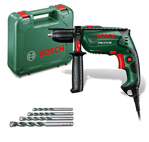 Bosch DIY Schlagbohrmaschine PSB 570 RE, 4 tlg. Universalbohrer-Set, Zusatzhandgriff, Tiefenanschlag, Koffer (570 W, max. Bohr-�: Beton 10 mm, Holz: 25 mm)