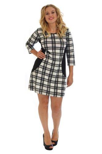 Nouvelle Damen Plus-Size Schottenkaro Bodycon Kleid wei� 48