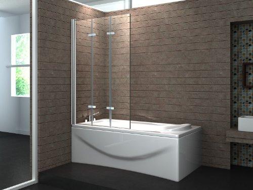VALVE 130 x 140 cm 3tlg. Faltwand Badewanne Echt Glas 6 mm Duschabtrennung Duschwand