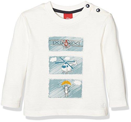s.Oliver Baby-Jungen Langarmshirts mit Frontprint, Elfenbein (Ecru 0210), 86