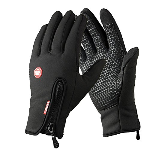YYGIFT� Touchscreen Handschuhe Outdoor Sport Winter Damen und Herren Warme Fahrradhandschuhe Winddicht und Touchscreen geeignet mit der Rei�verschl�sse Touchfinger