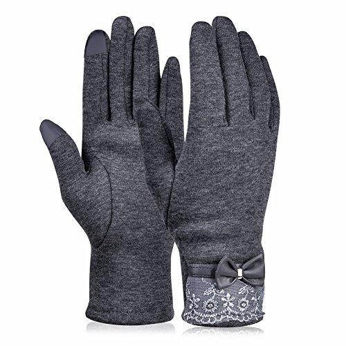 Vbiger Touchscreen Handschuhe Outdoor Sport Fahrradhandschuhe Mountainbike Handschuhe skifahren Handschuhe (Dunkelgrau)