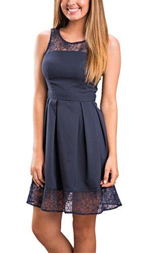 ECOWISH Damen Kleid Sommerkleid Freizeitkleid Cocktailkleid Lace Spitzen Elegant �rmellos Rundhals Knielang