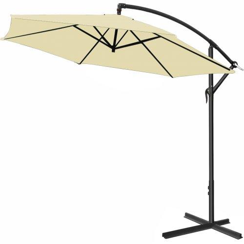 Alu Ampelschirm � 300 cm creme, h�henverstellbar mit Kurbelvorrichtung - Sonnenschirm Schirm Gartenschirm Marktschirm