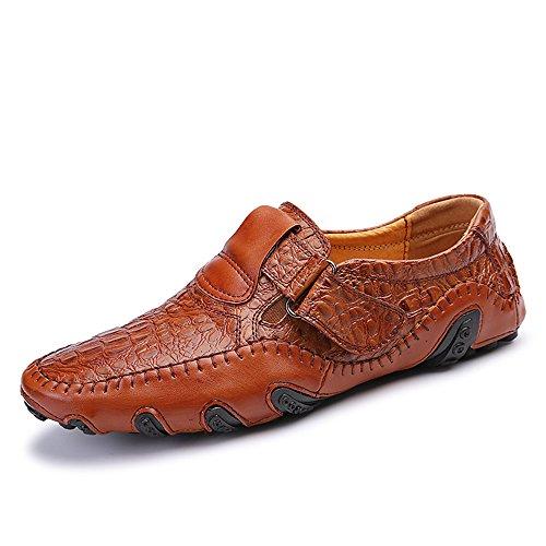 Herren Slipper Elegant Leder Schuhe Business (42 EU, Braun)