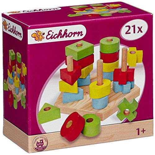 Eichhorn 100002087 - Steckplatte, 21-teilig, holz natur/bunt - 19x17,5x10,5 cm - 5 verschiedene Stecksymbole -