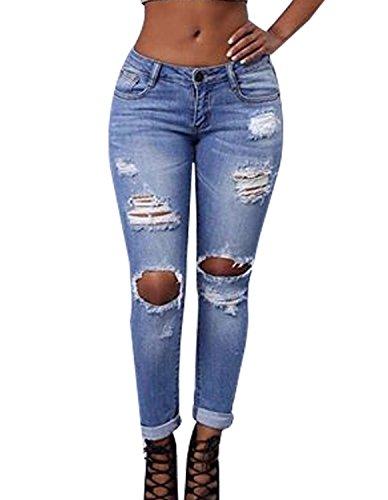 Burvogue Frauen-Denim Blue Stretch Jeans Skinny Distressed Hosen (X-Large, picture3)