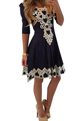 Baymate Frauen Schn�ren V Ausschnitt Plissierten Kleid Spitze Kleider Halbe H�lse Als Bild M