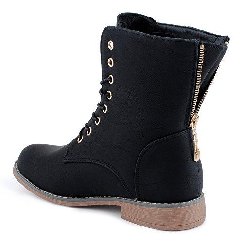 Damen Schn�r Stiefeletten Biker Boots Stiefel Warm Gef�tterte Schuhe Schwarz/gef�ttert EU 38