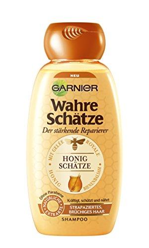 GARNIER Wahre Sch�tze Shampoo / Intensive Haarpflege bis in die Spitzen / Sch�tzt die Haarfarbe (mit Gel�e Royale, Bienenbalsam & Honig - f�r strapaziertes, br�chiges Haar - ohne Parabene) 1 x 250ml
