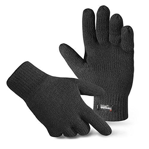 Herren Thermo Strick-Handschuhe Thinsulate Schwarz S/M