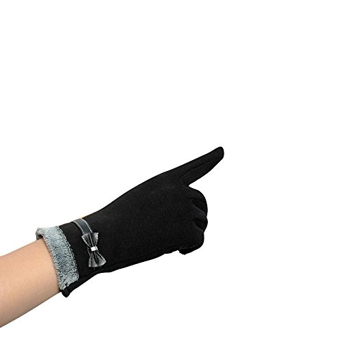 Longra Damen ber�hren Bildschirm Winter warm Handgelenk Handschuhe F�ustlinge (Schwarz)