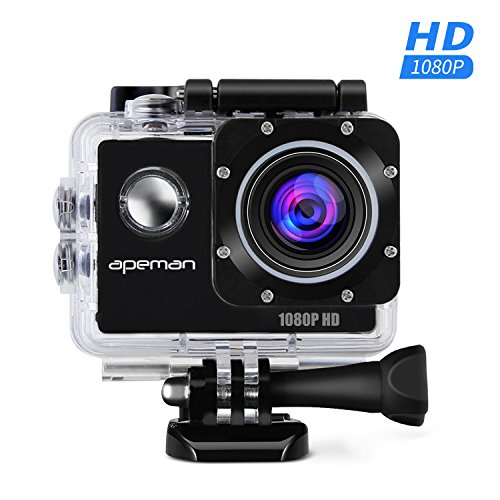 APEMAN Sports Action Camera 12MP Full HD 1080p Action Cam Wasserdichte Action Kamera Helmkamera mit Transporttasche und Zubeh�r Kit