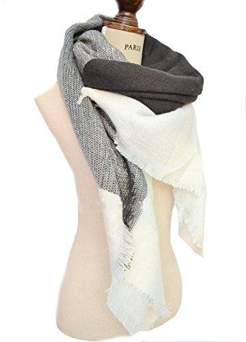 Minetom Damen Herbst Winter Schal Oversized Rechteckig Schal Decken Schal Weich Warm Karo Poncho Patchwork Grau