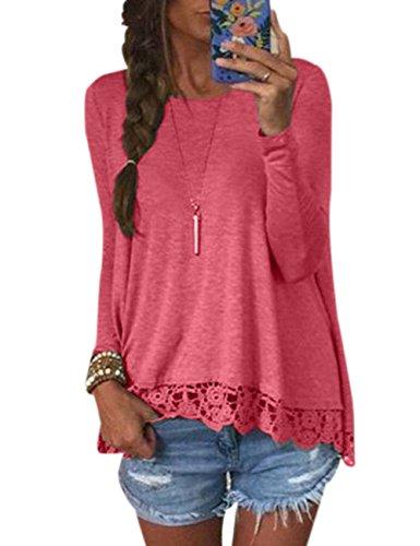 Damen Langarm Spitze Hemd Rundhals Tops Shirt Bluse Loose Casual Bluse Oberteil Herbst Langarmshirt (L, Rot)
