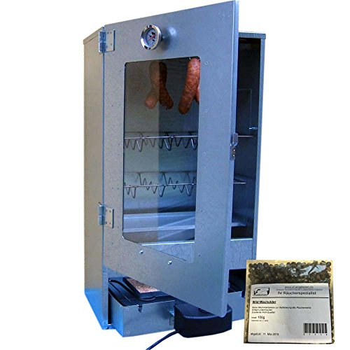 VF Elektrischer R�ucherofen aus Edelstahl mit Sichtscheibe inkl. Heizung und Thermometer R�ucherschrank + VF Wildwacholder