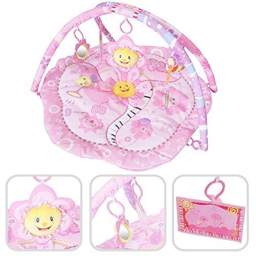 Krabbeldecke f�r das Baby - rosa Erlebnisdecke mit Bogen und Lernspielzeuge