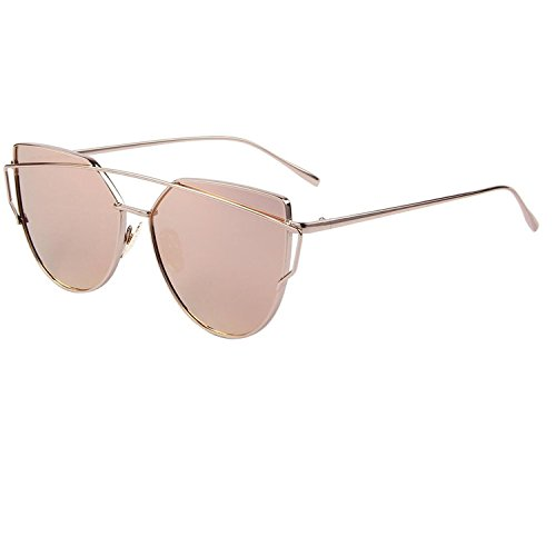 LOVE PUNCH Twin Beams Katzenaugen Sonnenbrille Dame Beschichtung Spiegel Flat Panel Objektiv Gl�ser 86798A Pink