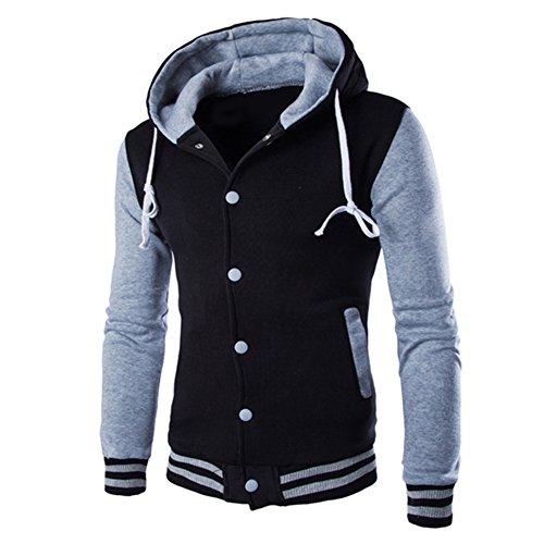 Healthy Clubs Langarm Herren Farbe Block Hoodie Jacket Slim Fit Sweatshirt Kapuzenpullover Jacke ( Grau & Schwarz )