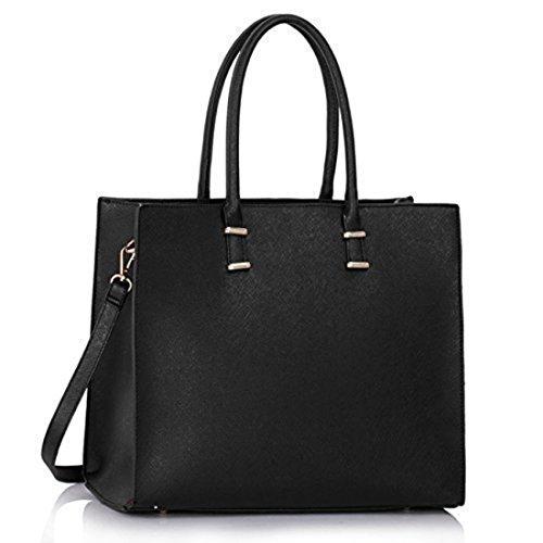Damen Handtasche Schultertasche Tasche Large Umh�ngetasche Entwerfer Shopper Henkeltasche, Neu (Schwarz)