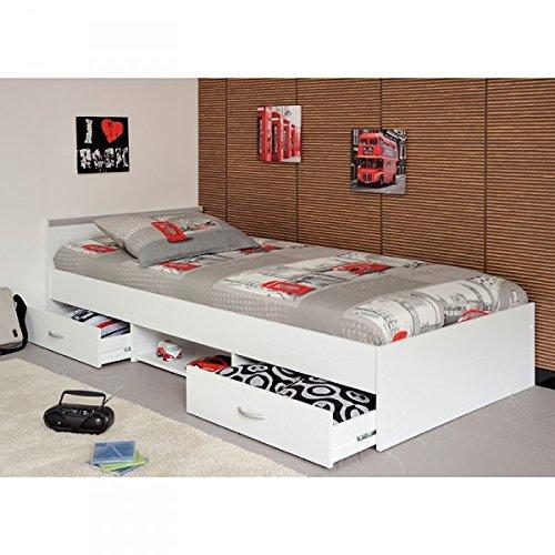 Funktionsbett Alawis 90*200 cm wei� inkl 2 Roll-Bettk�sten Kinderbett Jugendbett Jugendliege Bettliege Bett Jugendzimmer Kinderzimmer 1251