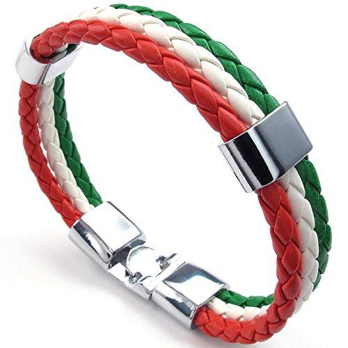 KONOV Schmuck Armband, Italienische Italien Flagge Armreif, Leder Legierung, f�r Herren Damen, Gr�n Wei� Rot - Breite 14mm - L�nge 20cm