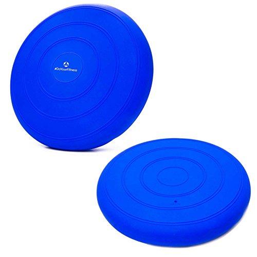 Ballsitzkissen �BlowUp� inkl. Pumpe (ca. 140kg Maximalgewicht) / luftgefe�lltes Sitzballkissen, Luftkissen / Balance Kissen f�r Fitness-, Reha-, Koordinations-, und R�ckentraining / Gleichgewichtskissen, 33 cm / blau