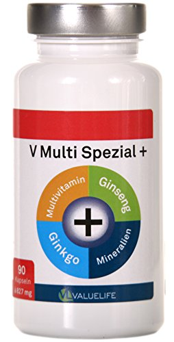 V Multi Spezial: Multivitamin + Multimineral + Ginkgo Biloba + Ginseng! 22 Vitamine & Mineralien in einem Produkt vereint zur optimalen Formel f�r K�rper und Geist! 90 Kapseln � 827mg (1x74g)