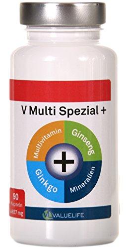 V Multi Spezial: 90 Multivitamin + Multimineral Kapseln - 22 Vitamine & Mineralien mit Extra Ginkgo Biloba & Ginseng in optimaler Bioverf�gbarkeit f�r K�rper und Geist - Qualit�t Made in Germany (1x74g)