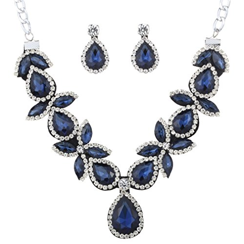 YAZILIND Frauen-Schmuck-Set Silber �berzogenes Blau Stunning Kristalltropfen geformte klumpige Halsketten-Ohrring f�r Partei