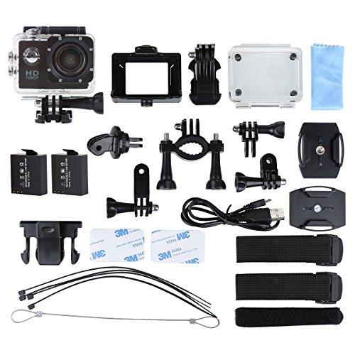Helmkamera, CCbetter CS710 wasserdichte Action Kamera Fahrrad mit 120 Grad Weitwinkel 12MP HD DVR Auto Recorder Wasserdicht Camcorder + 2 AKKU(Schwarz)