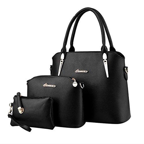 Baymate Damen Elegant Leder Handtaschen Schulter Beuteltote Schultaschen Hobo Set Schwarz