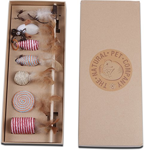 Katzenspielzeug Set - Interaktiv - Federn - Katzenangel - Stoffm�use - Geschenkbox - The Natural Pet Company Qualit�tsprodukt