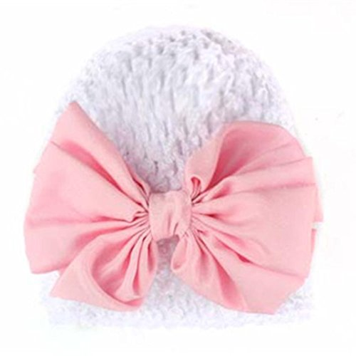 Babybekleidung H�te & M�tzen Longra Winter Baby Kinder M�dchen Warme Bowknot aush�hlen Strickm�tze M�tzen Wolle H�te(0-2YEARS) (Beige) (White)