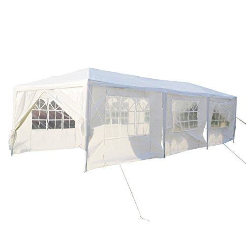 Partyzelt Pavillon 3 x 9m Gartenzelt Hochzeit Festzelt Zelt Gartenpavillon mit Fenster XXXL (Wei�)