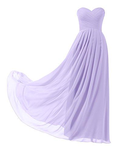 Remedios A-Linie Chiffon Brautjungfernkleider ballkleid Abendkleider Lang, #24 Flieder, 36