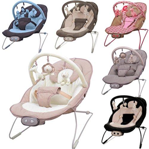 Babywippe / Babyschaukel mit Spielbogen & Vibrationsfunktion & Musikfunktion (12 Melodien) (BRAUN / BEIGE)