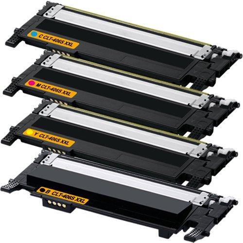 Set aus 4 kompatiblen Tonerkartuschen f�r Samsung Laserdrucker CLP360, CLP365, CLX3305, CLT-K406S, CLT-C406S, CLT-M406S, CLT-Y406S