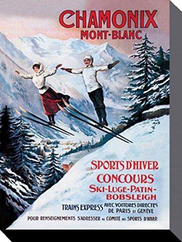 1art1 68189 Skisport - Wintersport In Chamonix Mont Blanc Poster Leinwandbild Auf Keilrahmen 80 x 60 cm