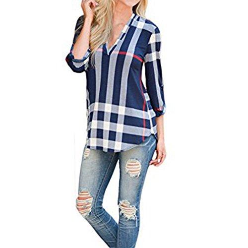 Shinekoo� Damen mit V-Ausschnitt 3/4 �rmel Plaid Lange Top Bluse Frau Lose Hemd