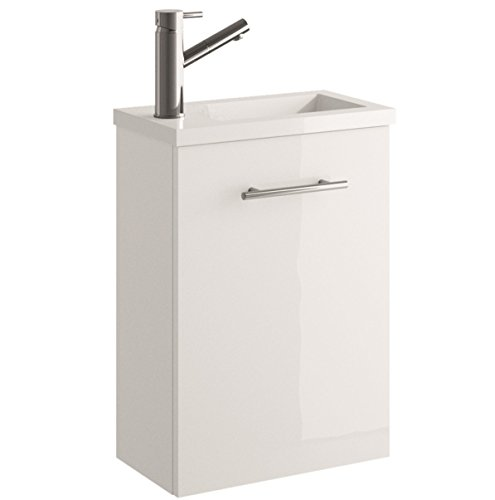 Cygnus Bath Mini Waschtisch Waschbecken Bad, ausgesetzt, mit 1�T�r Absenkautomatik 40x22x48 cm Brillo lacado - Blanco
