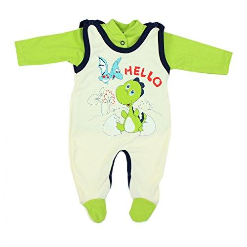 Baby Strampler mit Spruch I love Mum and Dad oder mit Aufdruck 2-tlg. Stramplerset mit Oberteil, Farbe: Dino Gr�n, Gr��e: 68