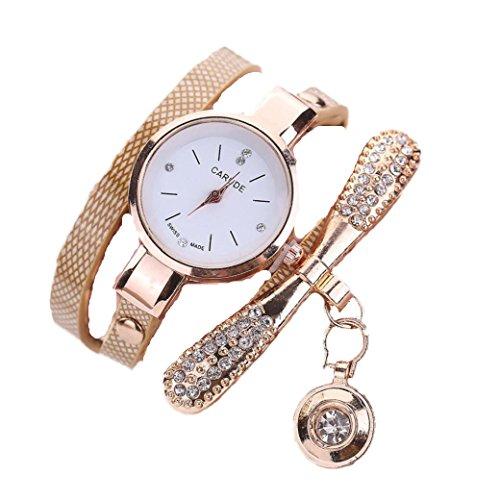 Ouneed� Uhren, Damen Leder Strass Analog Quarz Armbanduhren (Beige)
