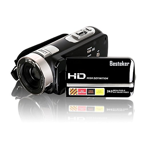 Besteker Protable FHD1080p Max 24,0 Megapixeln 16fach Digitalzoom Video Infrarot-Nachtsicht -Camcorder DV 3.0 TFT LCD Rotation Touch Screen Video Recorder und Funktion Gesichtserkennung , Attach (Remote Control & Weitwinkel -Objektiv)