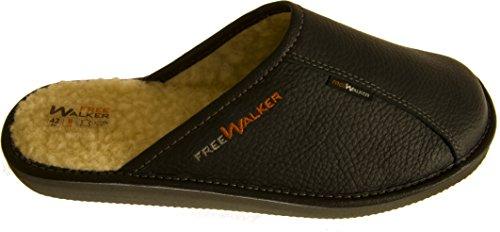 FreeWALKER | Herren Hausschuhe | 100% Echtes Leder, 100% Schafwolle (42, Schwarz)
