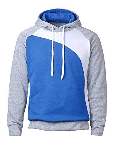 Bestgift Herren T-Shirt Hoody Pullover Multi-Taste Hoodie Shirt Knopfleiste T-Shirt Hellgrau+Wei�+K�niglich Blau L