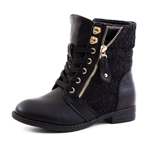 Damen Stiefel Stiefeletten Biker Boots Spitze Lederoptik leicht gef�ttert Schwarz 39